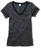 Empyre Girl Morel Charcoal & Black Football Tee Shirt