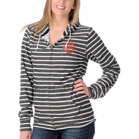 Obey Crest Front Heather Black & White Stripe Girls Zip Up Hoodie