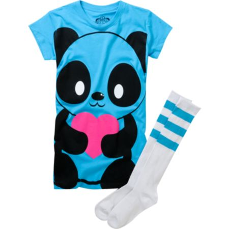 Bitter Sweet Girls Giant Panda Turquoise Tee Shirt & Tube Socks Pack