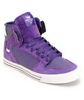 Supra Vaider White & Purple Leather Shoe