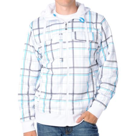 Empyre Elmhurst White Plaid Sherpa 2012 Guys Zip Tech Fleece Jacket