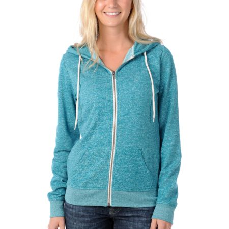 Zine Girls Bright Green Salt & Pepper Zip Up Hoodie