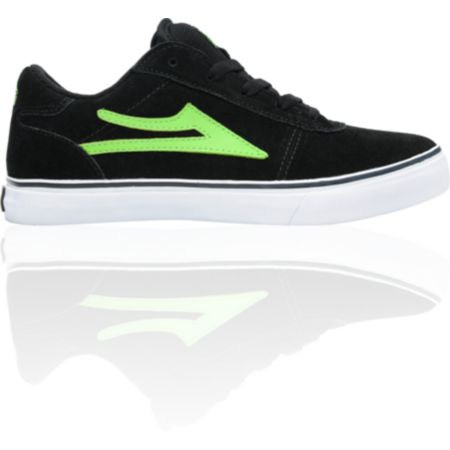 Lakai Boys Manchester Select Black & Lime Suede Skate Shoe
