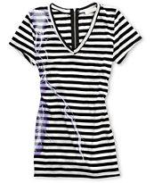 Workshop Women's Black & White Stripe Zipper-back Tee Shirt