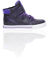 Supra Vaider Stevie Williams Purple Cracked Leather Skate Shoe
