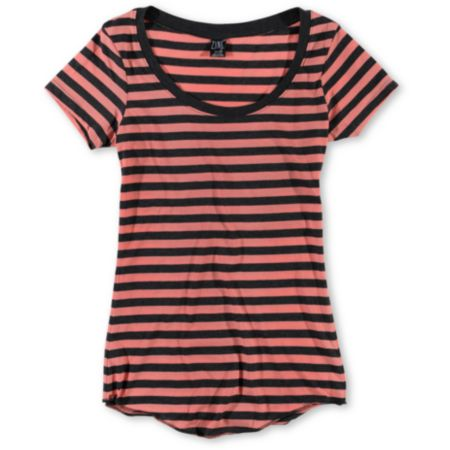 Zine Girls Coral & Charcoal Stripe Scoop Neck Tee Shirt