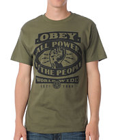 Obey All Power To The People Dark Green Tee Shirt