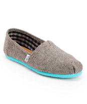Toms Classics Teal Pop Herringbone Girls Shoe