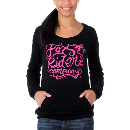 Fox Girls Forever Young Twisted Back Black Pullover Sweatshirt