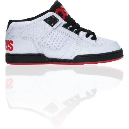 Osiris NYC 83 Mid White, Black & Red Skate Shoe
