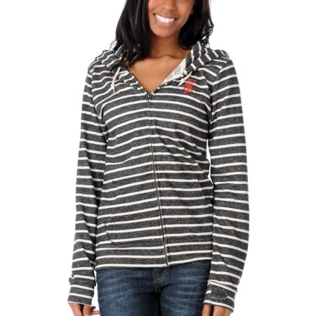 Obey Girls Anchor Snake Black & White Stripe Zip Up Hoodie