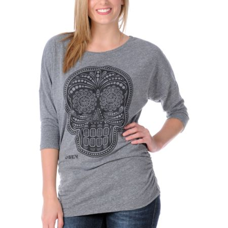 Obey Girls Day Of The Dead Heather Grey Dolman Shirt