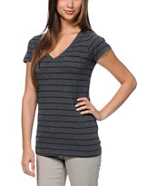 Zine Girls Charcoal & Black Stripe V-Neck Tee Shirt