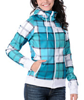 Empyre Girl Alpine Teal Plaid Sherpa Tech Fleece