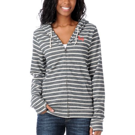 Obey Light Years Charcoal Stripe Girls Zip Up Hoodie
