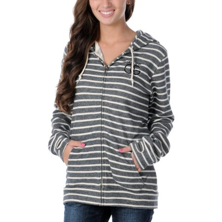 Obey Girls OG Charcoal & White Stripe Zip Up Hoodie