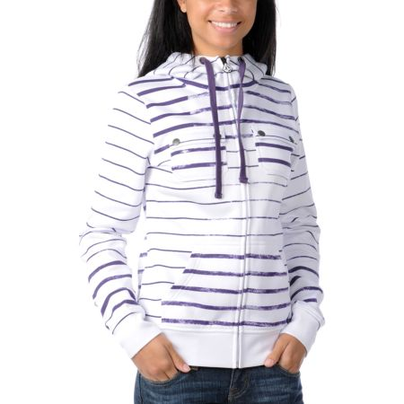 Volcom Girls Saddle 2012 White & Purple Stripe Tech Fleece Jacket