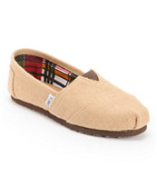 Toms Girls Classics Natural Burlap Shoe