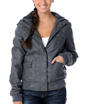 Empyre Girl Brazen Grey Faux Leather Hooded Bomber Jacket