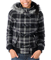 Empyre Girl Chalet Black Plaid Bomber Jacket