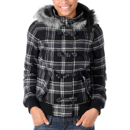 Empyre Girls Chalet Black Plaid Bomber Jacket