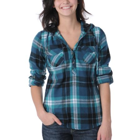 Empyre Girls Tephra Blue Plaid Hooded Woven Shirt