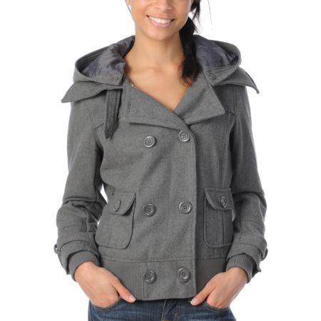 Coffee Shop Chloe Grey Wool Bomber Jacket