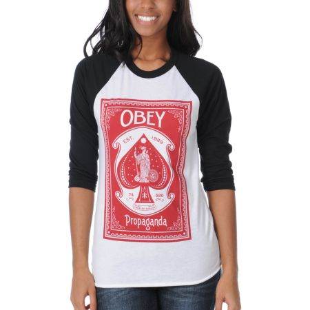 Obey Girls Ace Of Spades Black & White Baseball Tee Shirt