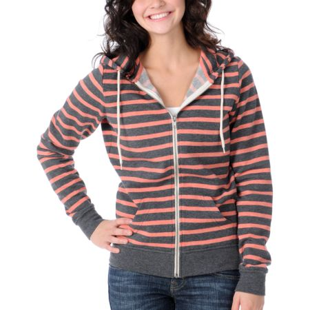 Zine Girls Coral & Charcoal Stripe Zip Up Hoodie