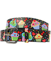 Cupcake Graphic Print Girls Black Belt