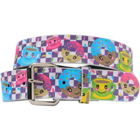 Coffee Donuts Purple Checkerboard Graphic Print Girls Belt