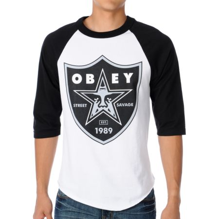 Obey Obey Nation 2 White & Black Baseball Tee Shirt
