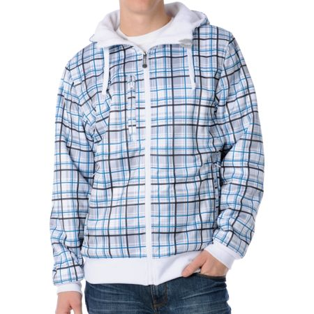 Empyre Malison White Plaid Sherpa 2012 Guys Zip Tech Fleece Jacket
