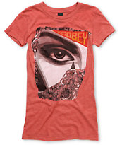 Obey Women's Lady Collage Red Fitted Tee Shirt