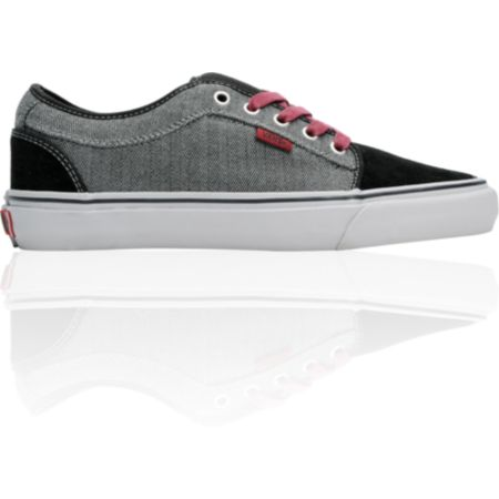 Vans Shoes Chukka Low Black & Grey Herringbone Skate Shoe