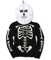 Volcom Boys Fear Skeleton Black Full Zip Face Mask Hoodie