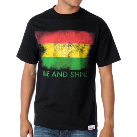 Diamond Supply Rasta Rise And Shine Black Tee Shirt