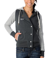 Element Girls Sandbox Charcoal Hooded Letterman Jacket