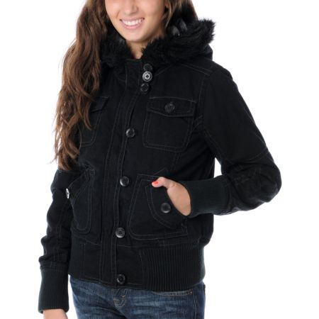 Fox Girls Lexie Black Bomber Jacket