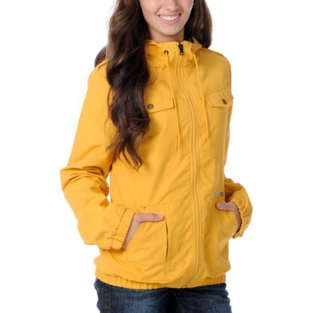 Volcom Girls Enemy Lines Yellow Windbreaker Jacket
