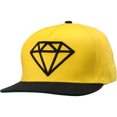 Diamond Supply Rock Black & Yellow Snapback Hat