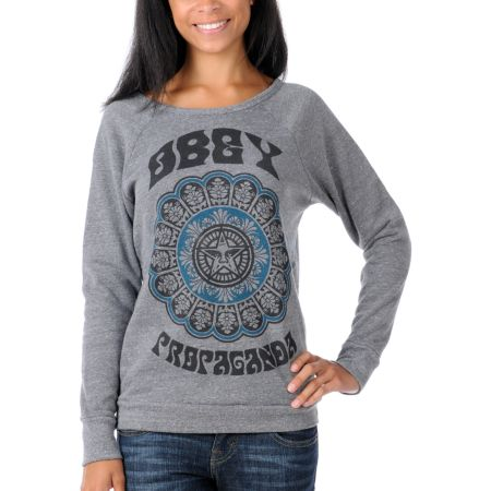 Obey Girls Starflower Grey Pullover Sweatshirt