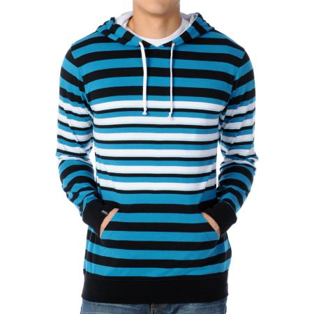 Empyre Interloper Tuquoise Striped Pullover Hooded Shirt