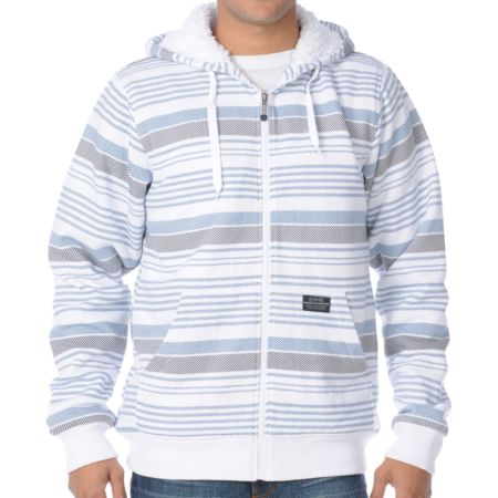 Empyre Whilom White & Blue Stripe Sherpa Fleece Hoodie