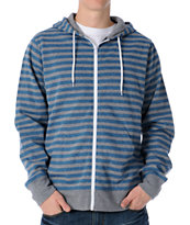 Zine Fineline Blue & Grey Stripe Zip Up Hoodie
