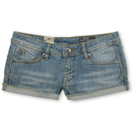 Volcom Girls Check In 2.5 Denim Shorts