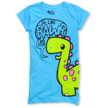 Bitter Sweet Rawr & Stuff Again Girls Turquoise Tee Shirt