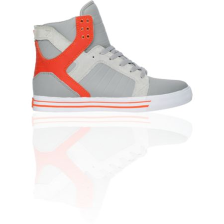 Supra Skytop Grey & Orange Leather Skate Shoe