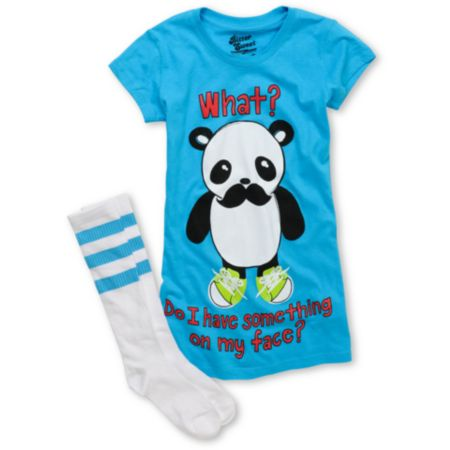 Bitter Sweet My Face Girls Blue Tee Shirt & Tube Socks