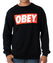 Obey Box Logo Black Crew Neck Sweatshirt